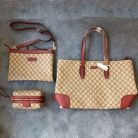 GUCCI 2018 new one-shoulder big bag portable new large capacity simple three-piece F-BCZ(CJZX)