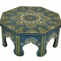 Antique Wood Carved Furniture Low Table Moroccan Exclusive Round Footstool 15""