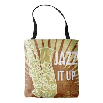 Vintage Sepia Saxophone All-Over-Print Tote Bag