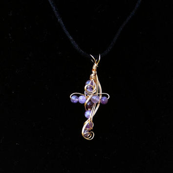 Gold Cross Necklace,  Genuine amethyst Wire Wrapped Cross Pendant Necklace ,  Artisan Jewelry