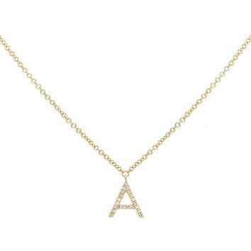 Diamond Initial Necklace 14K