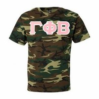 Gamma Phi Beta Lettered Camouflage T-Shirt