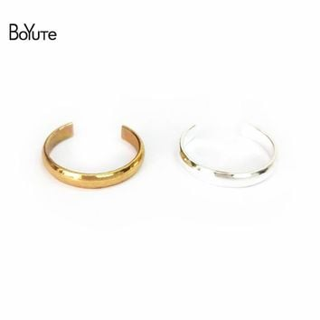 BoYuTe Brand Women Foot Jewelry 5Pcs Adjustable 18*3MM Silver Gold Plain Toe Ring