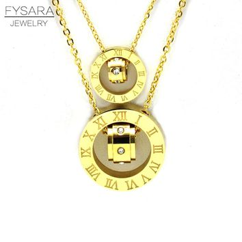 FYSARA Couple Jewelry Austrian Crystal Love Necklace Luxury Brand Roman Numerical Necklace For Women Two Circle Pendant Clavicle