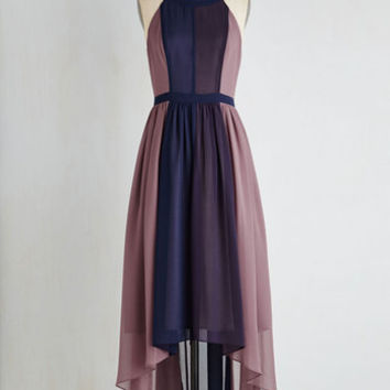 aa42f445f86964 Colorblocking Long Sleeveless A-line Peachy Queen Dress in Berry