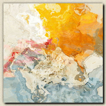 "Abstract art stretched canvas print, in orange and white, ""The Kiss"" - 30x30 to 36x36"