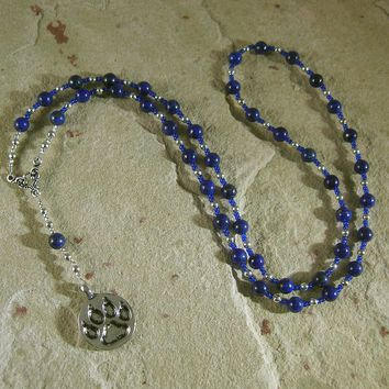 Bast (Bastet) Prayer Bead Necklace in Lapis Lazuli: Egyptian Goddess of Love, Joy, Music