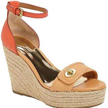 DCCKG2C Coach Women's Glinda Wedge Sandal (Light Tan/Bright Coral, 8)