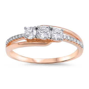 Sterling Silver Rose Gold-Tone Plated CZ Simulated Diamond Three-Stone Designer Ring 6MM