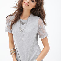 FOREVER 21 Lace Sleeve Tee Heather Grey