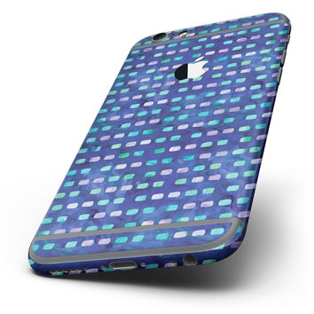 The Blue with Purple and Aqua Strokes Pattern Six-Piece Skin Kit for the iPhone 6/6s or 6/6s Plus