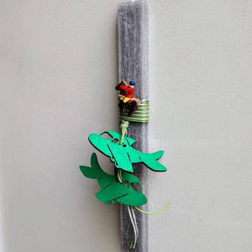 Airplanes Easter candle, green aeroplanes Easter candle for boys, wooden plane charms on grey candle, Easter candle for boys and baby boys