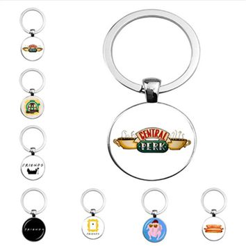 New TV Friends keychain glass keyring Key Ring Holder Pendant Chaveiro Jewelry Souvenir Christmas gift fashion jewelry