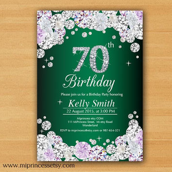 Glam birthday invitation, Rhinestone diamond elegant invite 30th 40th 50th 60th 70th 80th 90th adult birthday design - card 593