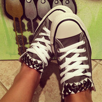 Studded Custom Gun Metal Gray Converse All Stars - Chuck Taylors! ALL SIZES & COLORS!