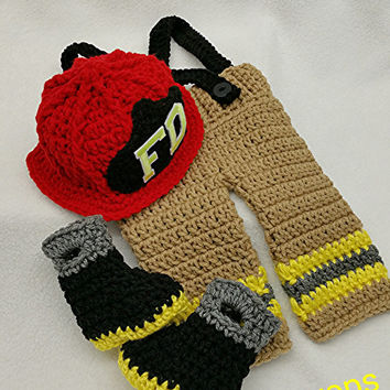 Baby Firefighter Hat Set newborn Firefighter outfit newborn firefighter costume Firefighter Set Crochet Firefighter prop Priority Shipped