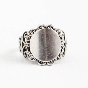 Vintage Signet Ring -Retro Sterling Silver Filigree Blank Raised Signet - Adjustable Size 5 Statement Swirl Metal Work Signed Beau Jewelry