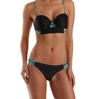 Black Combo Ruched Tribal Print Bikini Bottoms by Charlotte Russe