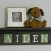 "Green and Brown Personalized Baby Boy Nursery Decor 30"" Brown Shelf With 5 Wooden Wall Letters - AIDEN"