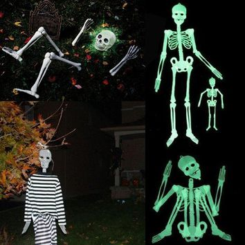 90cm Diy Hanging Plastic Skull Skeleton Scary Spooky Halloween Props Glow Evil Party Favors Halloween Decoration