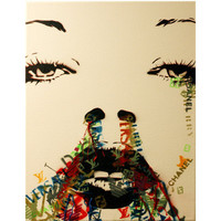 KATE MOSS Fashion Victimizer 3 11 x 27 Mixed Media Graffiti Style Pop Urban Original Painting on Canvas
