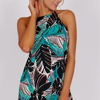 High Neck Tank Shift Dress Teal