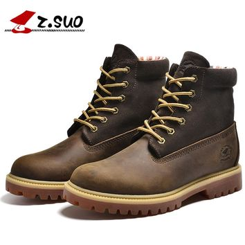 Z.Suo Brand Luxury New Men's Autumn Winter Boots Man First Layer Cowhide High Top Botas Classic Tooling Work Safety Shoes ZS1208