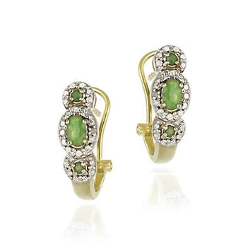 18K Gold over Sterling Silver Emerald & Diamond Accent 3 Stone Half Hoop Earrings