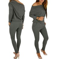 PEAPJ Womens Sexy Jumpsuit Overalls Long Sleeve Casual Rompers Summer Off Shoulder Jumpsuits Playsuit Bodysuit YF254