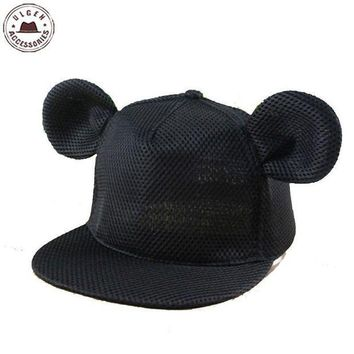 DCCKWJ7 New cute mouse ear hat girls summer mesh hat hip hop Snapback hat for women cute mouse hats mickey Baseball Caps