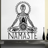 Wall Decal Vinyl Sticker Decals Home Decor Buddha Namaste Yoga Om Mandala Eye Indian Ganesh Lotus Flower Floral Pattern Tattoo Bedroom (6150)