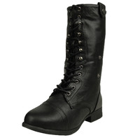 Womens Mid Calf Boots Fold Over Comfort Lace Up Shoes Black SZ