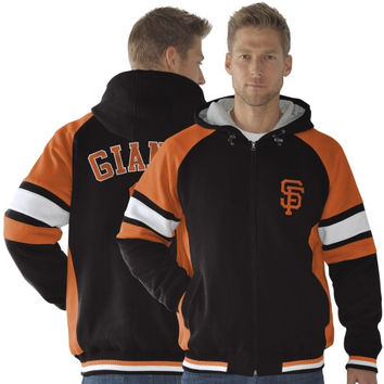 San Francisco Giants Fumble Recovery Poly Full Zip Fleece Hooded Jacket - Black