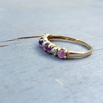 Vintage Gemstone Stacking Ring Amethyst 10k Gold Diamond Victorian Wedding Band Gift Fine Jewelry for her