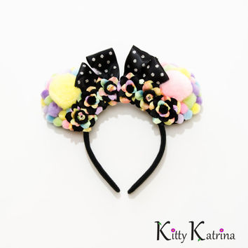 Pom Pom Minnie Mouse Ears Headband, Kawaii Disney, Disney Birthday Ears, Disney Bound, Disney World, Disneyland, Disney Anniversary