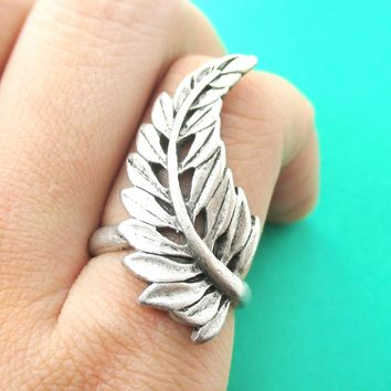 Beautiful Leaf Wrapped Around Your Finger Shaped Floral Ring in Silver | DOTOLY