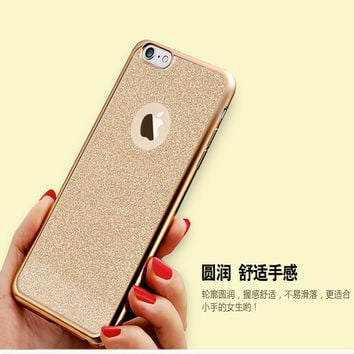 Luxury Back Shiny Powder Cover Plating Gilded TPU Silicon Case For iPhone 5 5S SE 6 6s 6Plus 6sPlus Cover Soft Bling Fundas