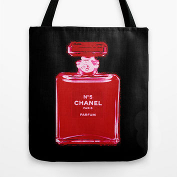 Chanel Illustration Tote Bag - Totebag - Book Bags for Girls - Girls Tote Bag - Black and White - Bookbag - Market Tote - Gifts for Her
