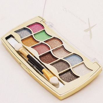 12 Colours Diamond Eyeshadow Palette with Mirror and Brush