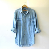vintage denim jean shirt. button down shirt. oversized denim shirt