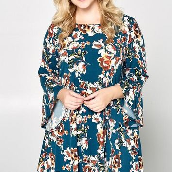 Teal Green Floral Dress | Plus