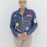 TOO COOL 4 SCHOOL EMBROIDERED DENIM JACKET
