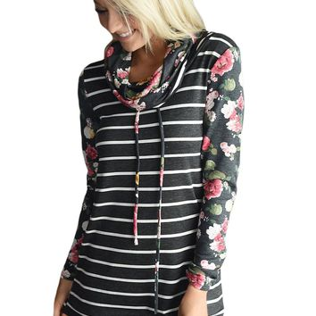 Chicloth Black Floral and Stripes Cowl Neck Sweatshirt