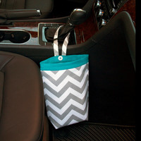 Car Trash Bag CHEVRON GRAY, Women, Men, Car Litter Bag, Auto Accessories, Auto Bag, Car Organizer