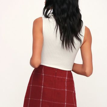 Spence Wine Red Plaid Mini Skirt