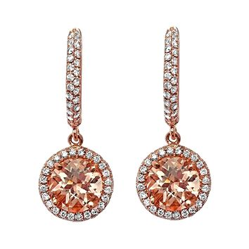 1.93tcw Round Morganite with Diamonds in 14K Rose Gold Dangle Earrings