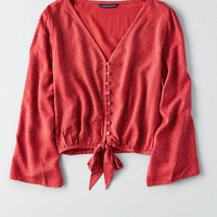 AEO Bell-Sleeve Cropped Top, Red