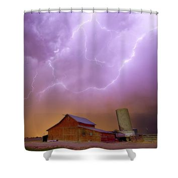 Red Barn on a Farm and What a Beautiful Sight Shower Curtain
