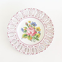 Italian Hand Painted Floral Decortaive Plate