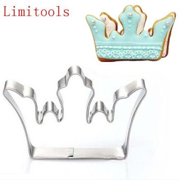 Cool 1PC Stainless Steel Princess Crown King Queen Party Cookie Cutter Cake Biscuit Baking Tool Mold Bakeware ToolsAT_93_12
